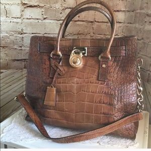 Large croc embossed Micheal Kors Hamilton bag